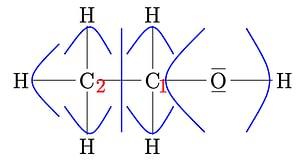 Lewis-Formel von Ethanol mit Zuordnungen der Elektronenpaare.